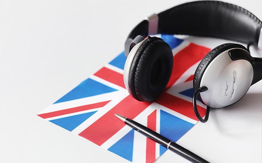 Flaga Wielkiej Brytanii długopis orazsłuchawki